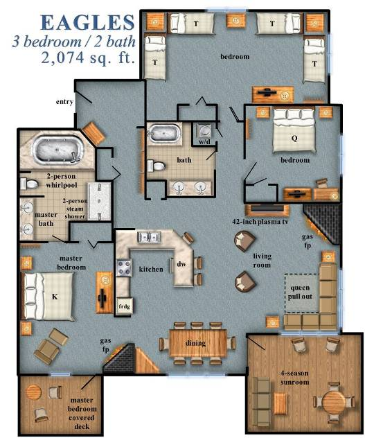 Smugglers Notch accommodations Eagles 3 bed 2 bath North Hill Community Condominium at Smugglers Resorts