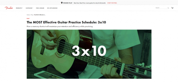 Fender offers multiple tips for learning to play the guitar