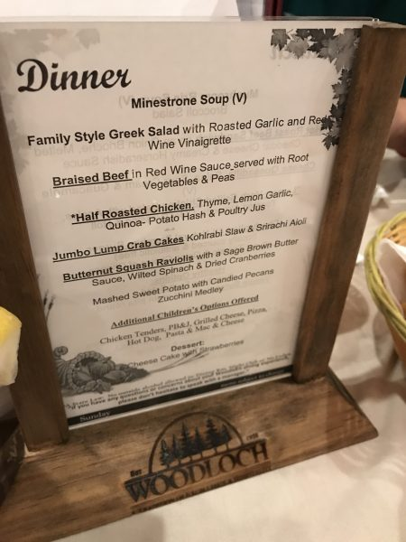 Woodloch Resort All inclusive meal plan dinner menu
