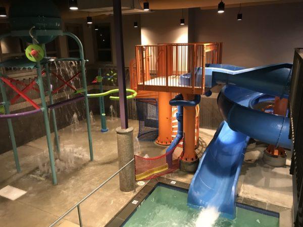 Woodloch Pines water slide at the indoor pool at Woodloch Resort