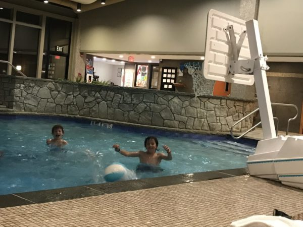 Another great Woodloch Resort indoor activity is playing basketball at the indoor pool in Woodloch Pines.