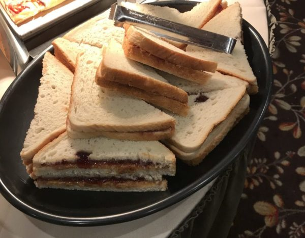 Peanut Butter and Jelly Sandwiches are available for some meals at Woodloch Resort.