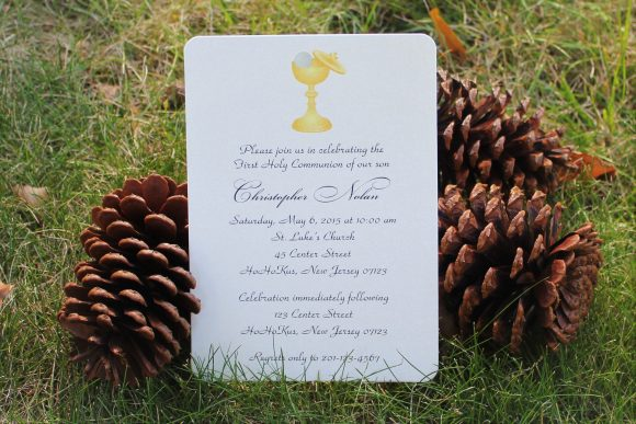 gender neutral first holy communion invitations