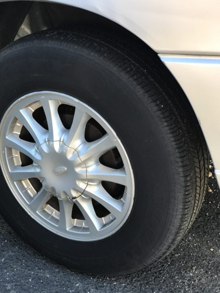 Tires without tread should be replaced before a road trip