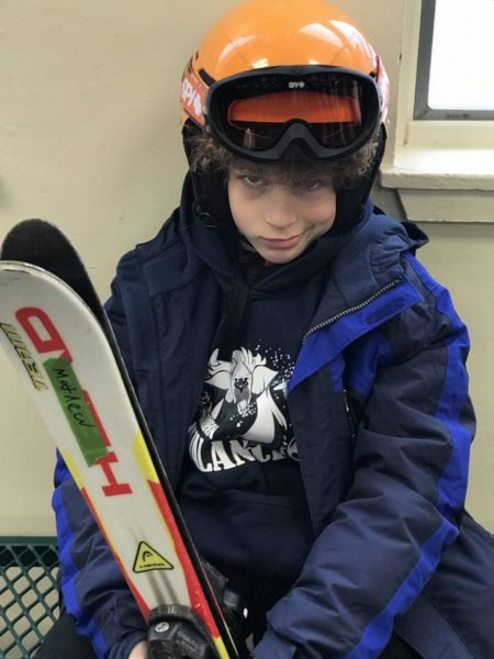 Ready with ski equipment at Smuggler's Notch Resort photo credit Jersey Family Fun