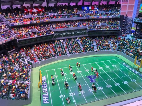 Lincoln financial field built from legos at Legoland Discovery Center Philadelphia