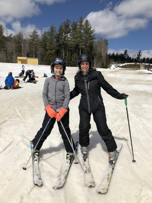 Mom and daughter ski together for the first time at Okemo Mountain Resort