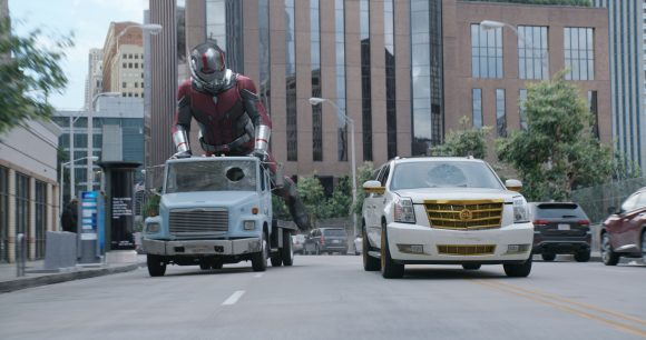 Marvel Studios ANT-MAN AND THE WASP..Ant-Man/Scott Lang uses a tow truck as a scooter in a chase scene.