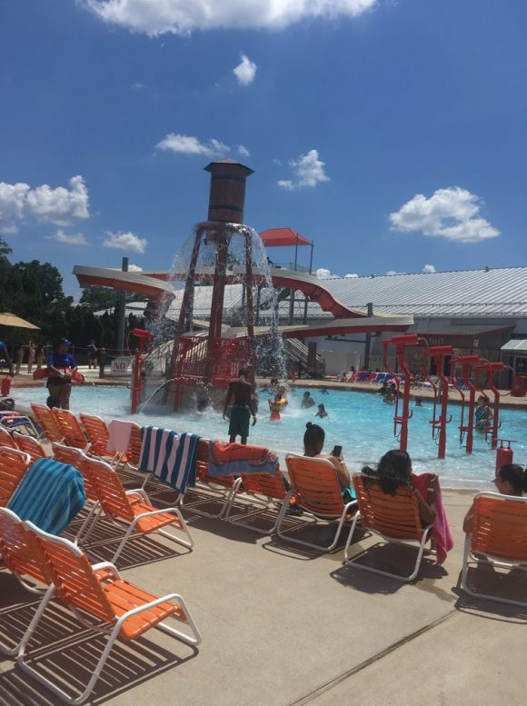 Funplex East Hanover offers plenty of outdoor seating as guests enjoy their Splashplex waterpark.
