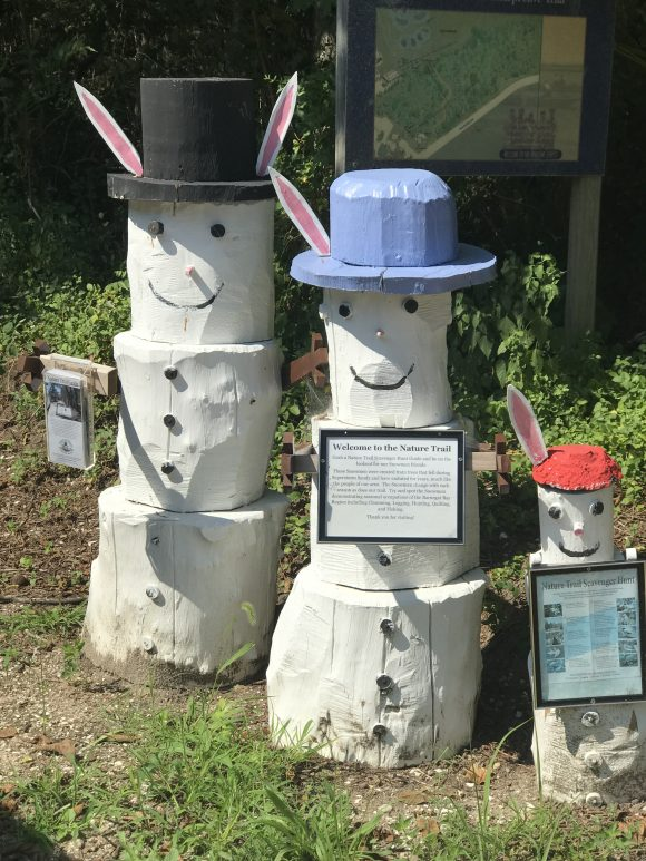 snowmen bunnies on the nature trail at the Tuckerton Seaport