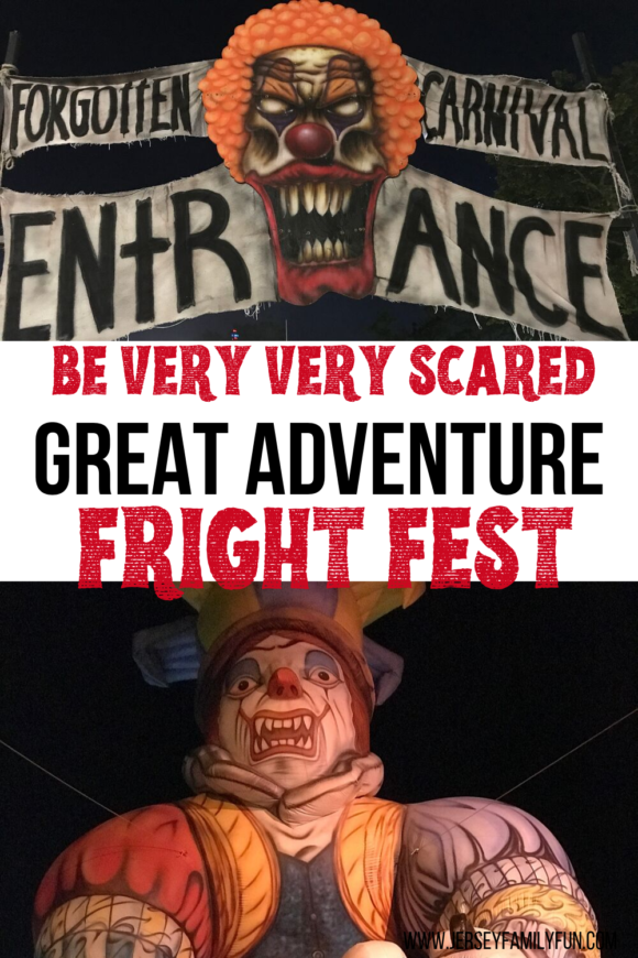be very very scared at Great Adventure Fright Fest pinterest image