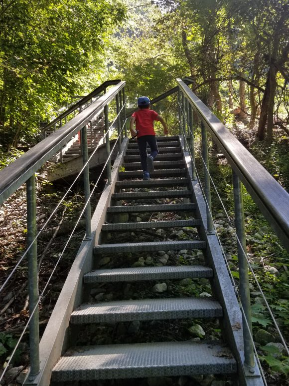 Climbing the stairs of the Casino Trail in Beacon, New York