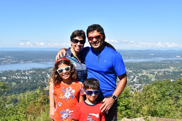 family picture at the top of Casino Trail in Beacon, New York