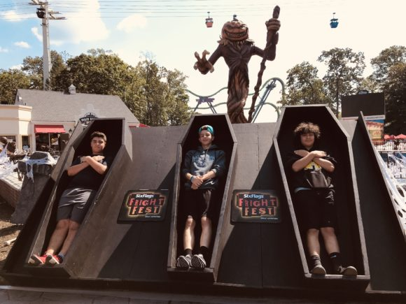 3 boys in coffins at six flags Great Adventure Fright Fest