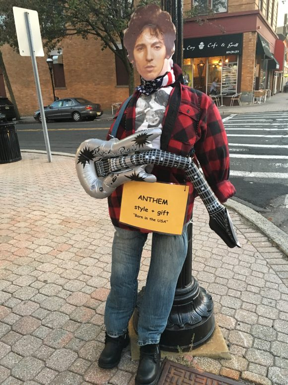See Bruce Springstein as a scarecrow on New Jersey scarecrow trails.