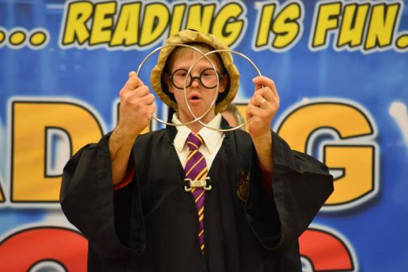 Reading rocks school assembly to promote reading