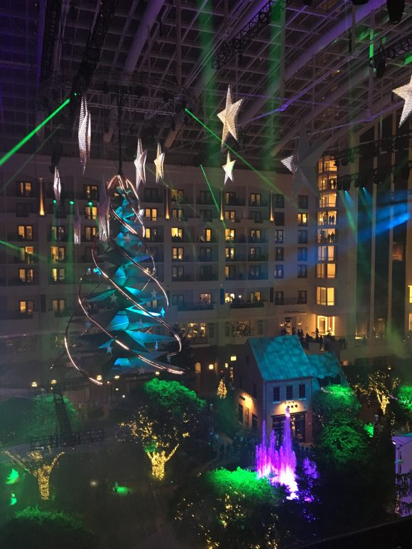 illuminated suspended Christmas tree at Gaylord National Hotel