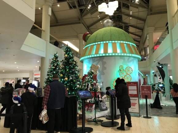 Outside the HGTV Santa HQ at the Freehold Raceway Mall