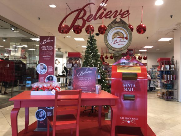 Letter writing station for the Macy's Believe Campaign