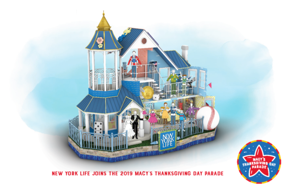 sketch of New York Life float for Macy's Thanksgiving day parade float