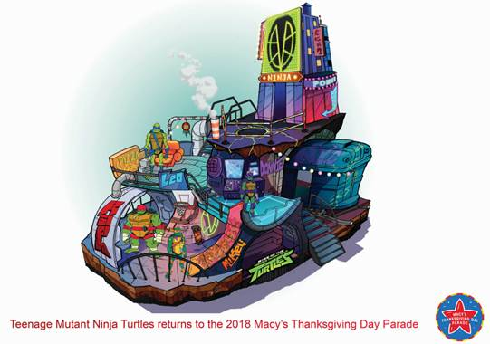 New Macy's Thanksgiving Day Parade Floats Teenage Mutant Ninja Turtles float