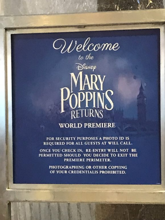 A welcome sign greets guests at the Mary Poppins Returns Red Carpet