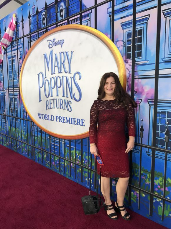 Disney blogger Jennifer Auer is on the red carpet for the Mary Poppins Returns Red Carpet Experience