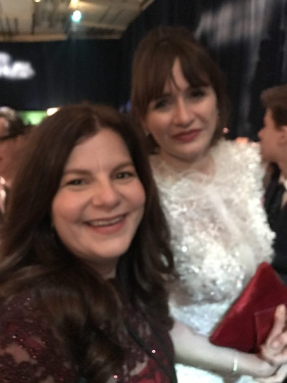 Emily Mortimer as Jane Banks poses with Disney blogger Jennifer Auer