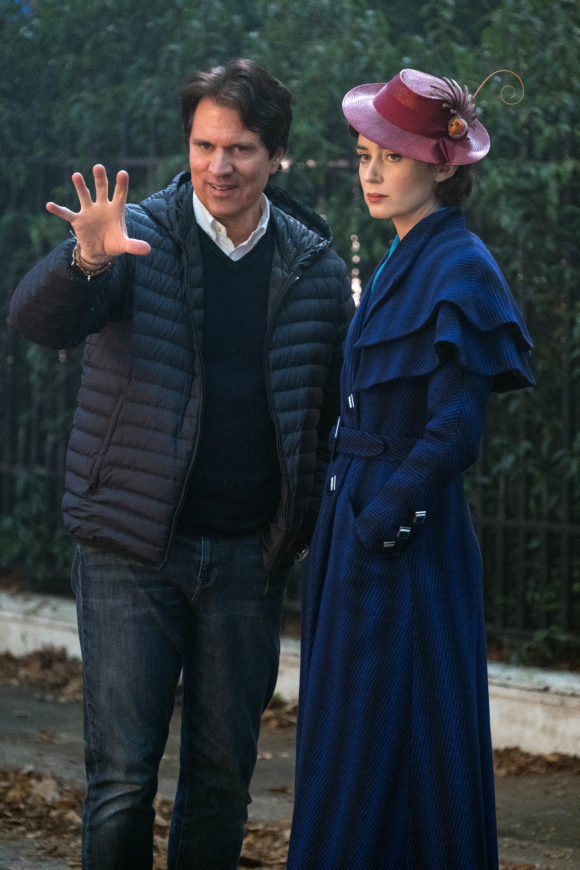 Mary Poppins Returns Director Rob Marshall with Emily Blunt