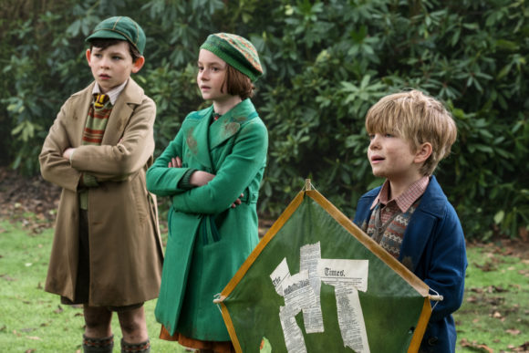 Pixie Davies & Joel Dawson from Disney Mary Poppins Returns movie scene with kite