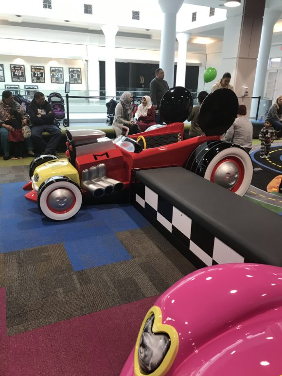 Giant race cars at Disney Junior Play Zone at Menlo Park Mall