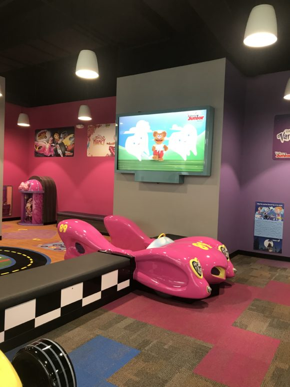 large tv screen at Disney Junior Play Zone at Menlo Park Mall