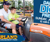 Diggerland's Father's Day offer shows a dad on a tractor with his son.