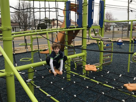 The net climber at Scott E Merulla Playground in Bellmawr.