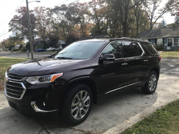 2019 Chevy Traverse in a driveway.