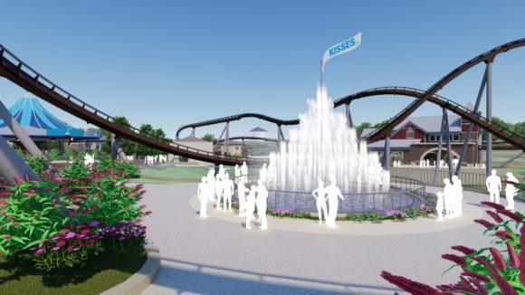 Hersheypark's Chocolatetown KISSES Fountain