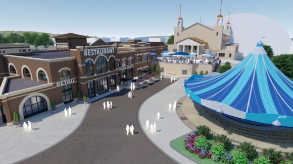 In the concept art for the Hersheypark's Chocolatetown restaurant you can see how close it will be located to the Carrousel.