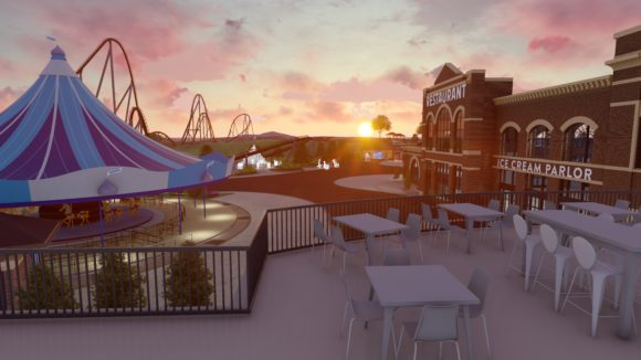 Concept art shows what the patio might look like from Hersheypark's Chocolatetown restaurant.