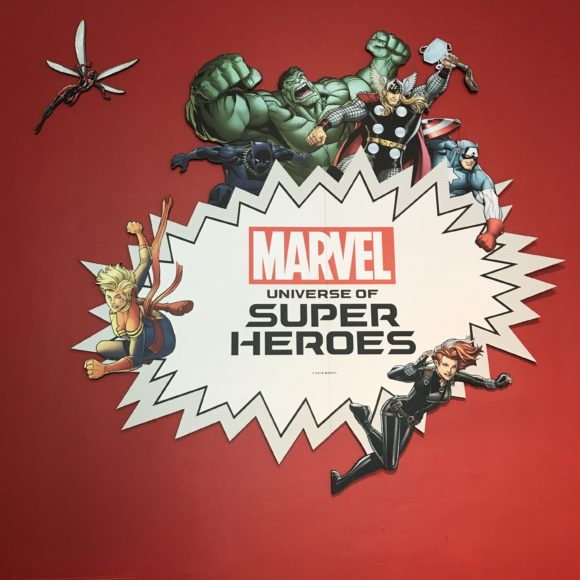 first backdrop at the Marvel Universe of Super Heroes at the Franklin Institute in Philadelphia