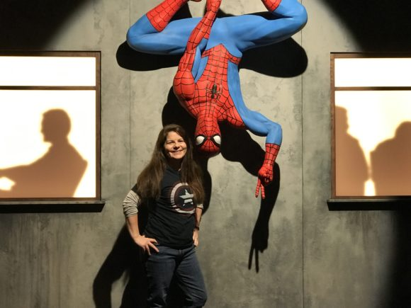 spiderman statue at Marvel Universe of Super Heroes at the Franklin Institute