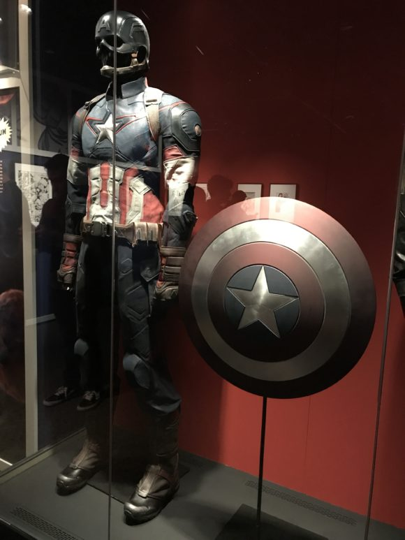 captain america artifact at Marvel Universe of Super Heroes at the Franklin Institute