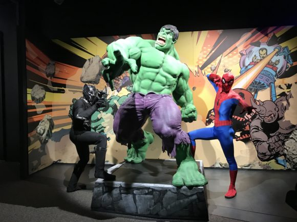 Black Panther, Spiderman, and Hulk at Marvel Universe of Super Heroes at the Franklin Institute