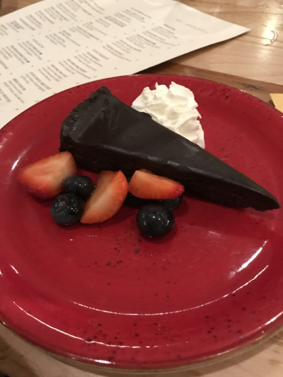 Hershey Lodge Fire and Grain gluten-free desserts Flourless Chocolate Torte