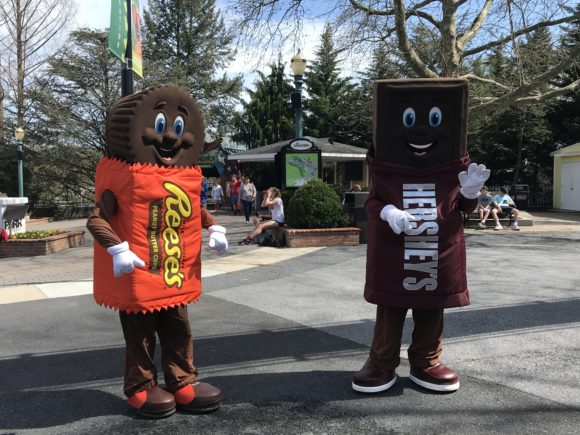 Hersheypark characters stand ready to greet guests.