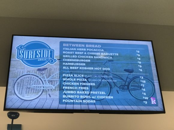 The Kartrite Resort & Indoor Waterpark surfside grill menu