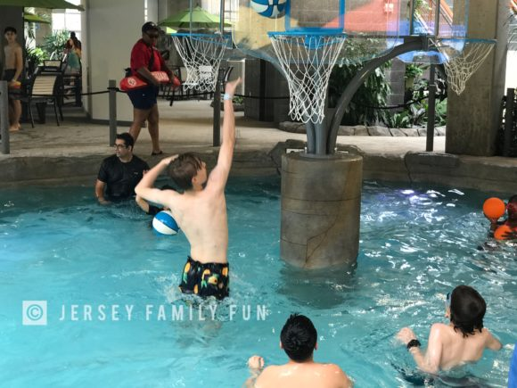 Kids can play water basketball at the Cannon Ballers at Kartrite Resort & Indoor Waterpark