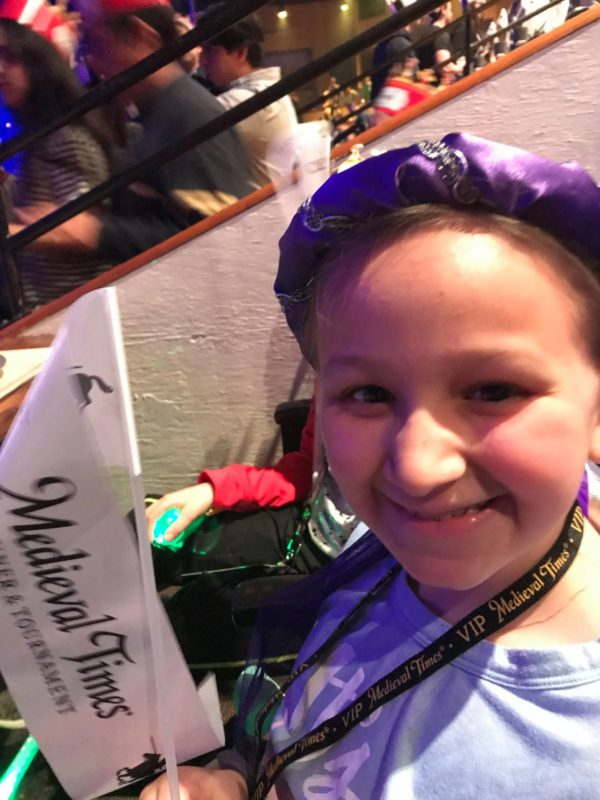 Medieval Times New Jersey girl with flag