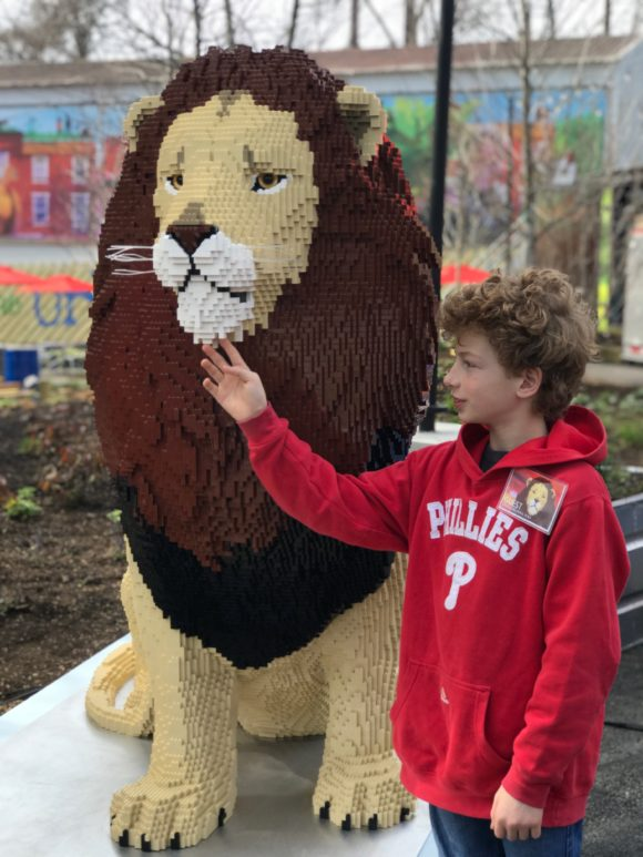 African Lion made from Legos at the Philadelphia Zoo