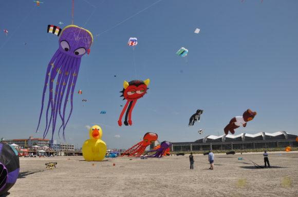 Kites from International Kite Festival in Wildwood.