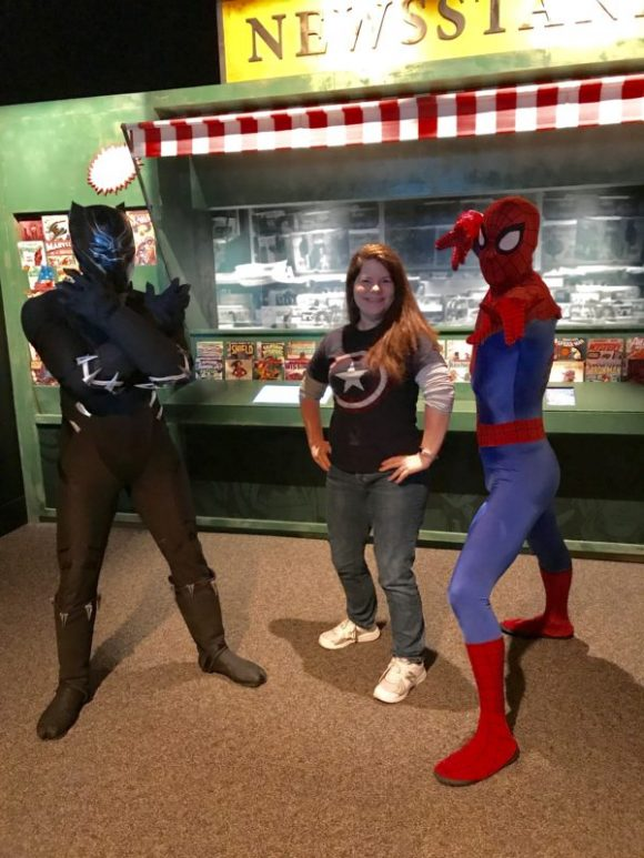 Jenn Auer with Spiderman and Black Panther at Marvel Universe of Super Heroes at the Franklin Institute